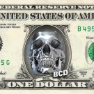 CHROME SKULL on REAL Dollar Bill - Collectible Custom Cash Money
