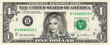 MADONNA on REAL Dollar Bill - Spendable Collectible Celebrity Cash Money Art