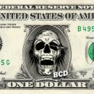 DEAD SKULL on REAL Dollar Bill - Collectible Custom Cash Money Art