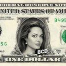 ANGELINA JOLIE on Real Dollar Bill - $1 Celebrity Bill Custom Collectible Cash