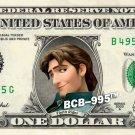 Disney's FLYNN RIDER Smoulder (Tangled) on REAL Dollar Bill Celebrity Cash Money