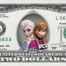 Disney's Elsa & Anna - FROZEN - on REAL $2 Dollar Bill - Collectible Custom Cash