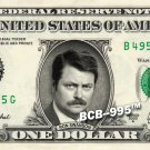RON SWANSON on REAL Dollar Bill -  Collectible Celebrity Cash Gift Money