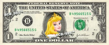 Disney's Aurora ( Sleeping Beauty ) on REAL Dollar Bill - Collectible Cash Money