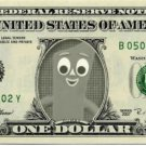 GUMBY on REAL Dollar Bill - Cash Money Bank Note Currency Bank Note Dinero