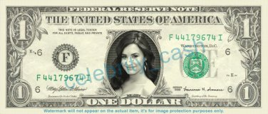 DEMI LOVATO on REAL Dollar Bill Cash Money Bank Note Currency Dinero Celebrity