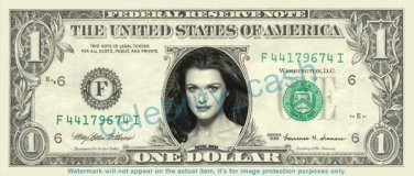 RACHEL WEISZ on REAL Dollar Bill Cash Money Bank Note Currency Dinero Celebrity