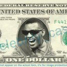 RAY CHARLES on REAL Dollar Bill Cash Money Bank Note Currency Dinero Celebrity