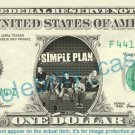 SIMPLE PLAN Music Band on REAL Dollar Bill Cash Money Bank Note Currency Dinero