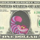 CHESHIRE CAT Disney on REAL Dollar Bill Cash Money Bank Note Currency Dinero
