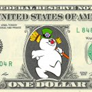 FROSTY the Snowman Christmas on REAL Dollar Bill Cash Money Bank Note Currency