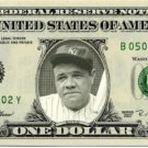 BABE RUTH on REAL Dollar Bill Cash Money Bank Note Currency Dinero Celebrity
