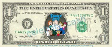 FAMILY GUY TV Show on REAL Dollar Bill Cash Money Bank Note Currency Dinero