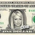 PARIS HILTON on REAL Dollar Bill Cash Money Bank Note Currency Celebrity Dinero