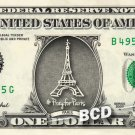 PRAY FOR PARIS Eiffle Tower on REAL Dollar Bill Cash Money Bank Note Currency