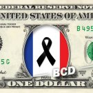 PARIS FLAG PEACE on REAL Dollar Bill Cash Money Bank Note Currency Celebrity
