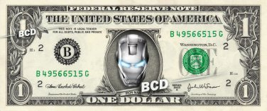 IRON MAN Chrome on REAL Dollar Bill Cash Money Bank Note Currency Celebrity