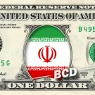 IRAN FLAG on REAL Dollar Bill Cash Money Bank Note Currency Celebrity Dinero