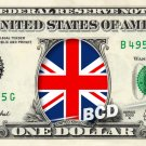 UNITED KINGDOM FLAG on REAL Dollar Bill Cash Money Bank Note Currency Celebrity Dinero