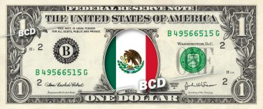 MEXICO FLAG on REAL Dollar Bill Cash Money Bank Note Currency Celebrity Dinero