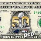 Super Bowl 50 - 2016 - Broncos vs Panthers Football Real NFL $1 U.S. Dollar Bill