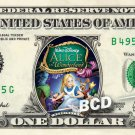 ALICE IN WONDERLAND movie Disney on REAL Dollar Bill Cash Money Memorabilia