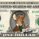 BASIL of Baker Street Disney on REAL Dollar Bill Cash Money Memorabilia