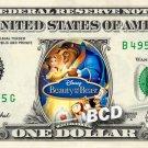 BEAUTY & BEAST Movie Disney on REAL Dollar Bill Cash Money Memorabilia