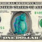JAMES P SULLIVAN Monster Inc on REAL Dollar Bill Disney Cash Money Memorabilia