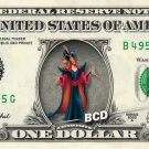 JAFAR - Aladdin on REAL Dollar Bill Disney Cash Money Memorabilia Collectible
