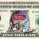 HUNCHBACK OF NOTRE DAME on REAL Dollar Bill Disney Cash Money Memorabilia Mint