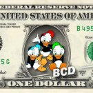 HUEY DEWEY LOUIE Ducktales on REAL Dollar Bill Disney Cash Money Memorabilia