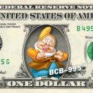 HAPPY 7 Dwarfs Snow White on REAL Dollar Bill Disney Cash Money Memorabilia