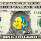 FLOUNDER - Little Mermaid on REAL Dollar Bill Disney Cash Money Memorabilia Mint