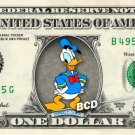 Donald Duck on REAL Dollar Bill Disney Cash Money Memorabilia Collectible Mint