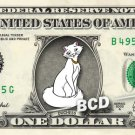 DUCHESS Aristocats on REAL Dollar Bill Disney Cash Money Memorabilia Collectible