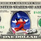 FANTASIA MICKEY on REAL Dollar Bill Disney Cash Money Memorabilia Collectible