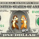 CHIP AND DALE on REAL Dollar Bill Disney Cash Money Memorabilia Collectible Mint