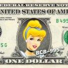 CINDERELLA Princess on REAL Dollar Bill Disney Cash Money Memorabilia Mint
