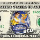 CINDERELLA the Movie on REAL Dollar Bill Disney Cash Money Memorabilia Mint
