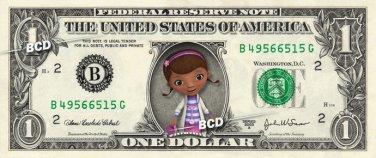 DOC MCSTUFFINS on REAL Dollar Bill Disney Cash Money Memorabilia Collectible