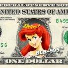 ARIEL Princess on a REAL Dollar Bill Disney Cash Money Memorabilia Collectible