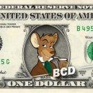 BASIL OF BAKER STREET Great Mouse Detective - REAL Dollar Bill Disney Cash Money