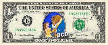 BEAUTY & THE BEAST on REAL Dollar Bill Disney Cash Money Memorabilia Collectible