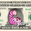 CHESHIRE Cat Alice in Wonderland REAL Dollar Bill Disney Cash Money Memorabilia