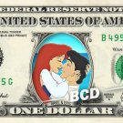 ARIEL & PRINCE ERIC on REAL Dollar Bill Disney Cash Money Memorabilia