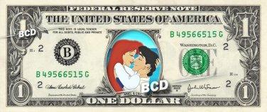 ARIEL & PRINCE ERIC on REAL Dollar Bill Disney Cash Money Memorabilia
