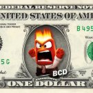 ANGER - Inside Out on REAL Dollar Bill Disney Cash Money Memorabilia Collectible