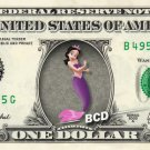 ALANA - Little Mermaid on REAL Dollar Bill Disney Cash Money Memorabilia