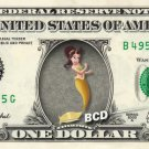 ADELLA - Little Mermaid on REAL Dollar Bill Disney Cash Money Memorabilia